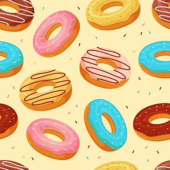 Пончики бесшовный фон фон векторные иллюстрации Premium векторы
