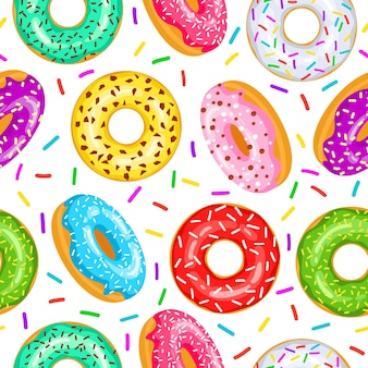 Donuts seamless pattern for fabric, wrapping paper, wallpaper, background for the site. a pattern of bright, multi colored donuts in glaze on a white background.
