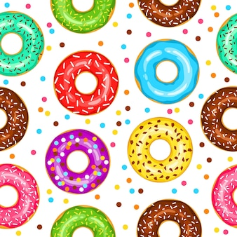 Donuts seamless pattern for fabric wrapping paper wallpaper background for the site