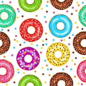 Пончики бесшовные модели для ткани оберточной бумаги обои фон для сайта