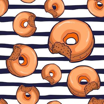 도넛 원활한 패턴 벡터 일러스트 레이 션