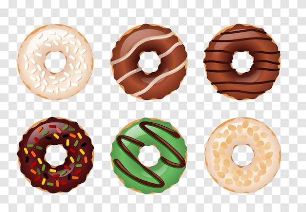 Donuts  set isolated on a transparent  background.