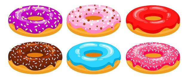 도넛 측면 보기 벡터 세트 레드 초콜릿 핑크 블루 퍼플 도넛이 장식되어 있습니다
