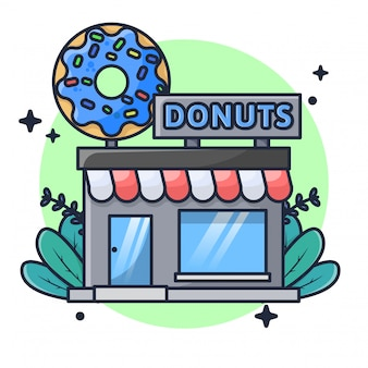 Donuts store illustration