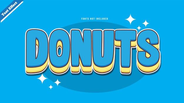 도넛 텍스트 효과 디자인 벡터 벡터입니다. 편집 가능한 3d 텍스트