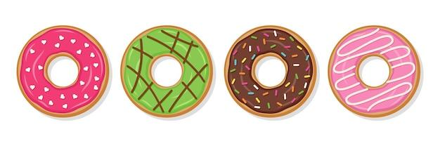 Пончики. вид сверху застекленных красочных пончиков. векторная иллюстрация.