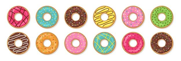 Пончики. вид сверху глазированные пончики. векторная иллюстрация.