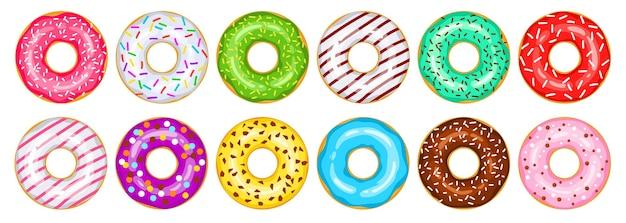 Пончики вектор большой набор. зеленые, белые, красные, шоколадные, розовые, желтые, зеленые, синие, пурпурные, мятные пончики украшены сладкой посыпкой. мультяшные сладости. иллюстрация яркие пончики, изолированные на белом.