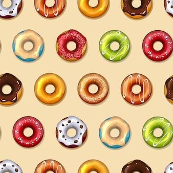ドーナツベクトルシームレスパターン。食べ物、甘いおいしい、砂糖とチョコレート
