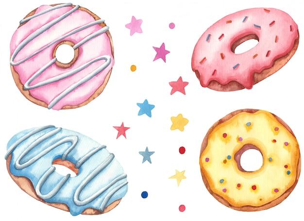 Пончики с цветной глазурью и красочными брызгает иллюстрация