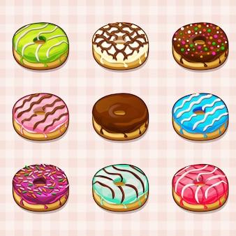 Пончики с разными начинками и разноцветной глазурью