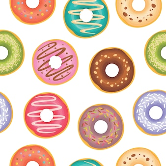 Donuts with different toppings pattern
