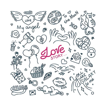 Doodle about love and romantic relationship print with hearts and other love symbols