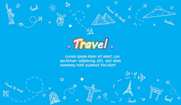 Doodle airplane around the world concept summer banner plane aerial check in with top world famous landmark.