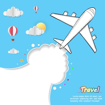 Doodle airplane around the world concept summer plane aerial.