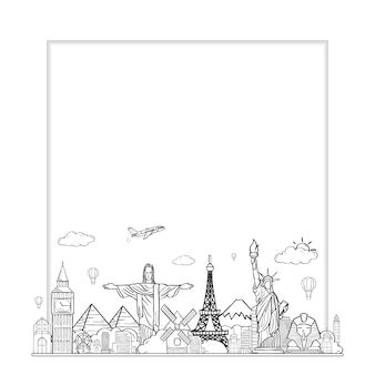 Doodle airplane around the world  summer banner plane aerial.