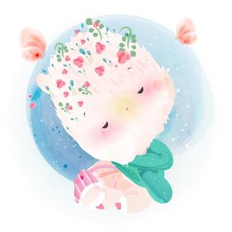 꽃에서 알파카 그림 수채화 낙서.