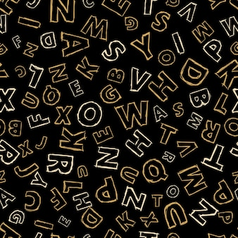 Doodle alphabet seamless background.  endless vector pattern with letters on a black background.