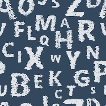 Бесшовный фон с алфавитом каракули. бесконечный векторный образец с белыми буквами на синем фоне.