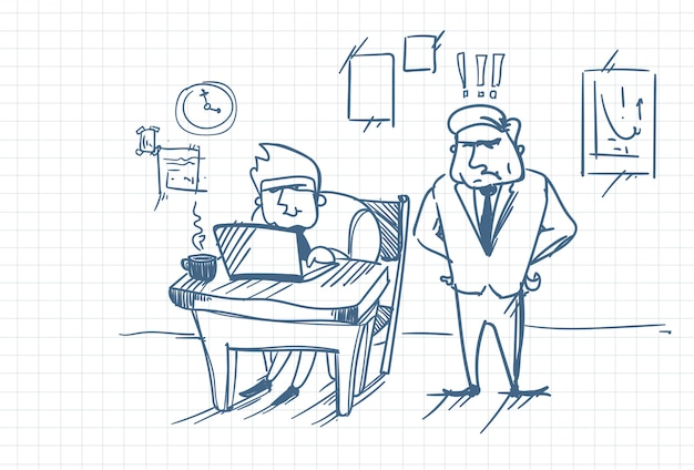 Doodle angry business man boss standing at worker using laptop computer at office workplace