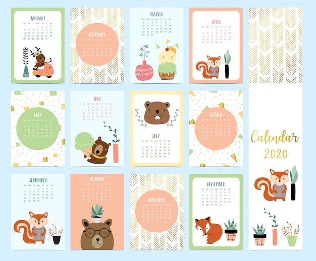 Doodle animal calendar 2020 set with reindeer, fox, squirrel, ice cream for children
