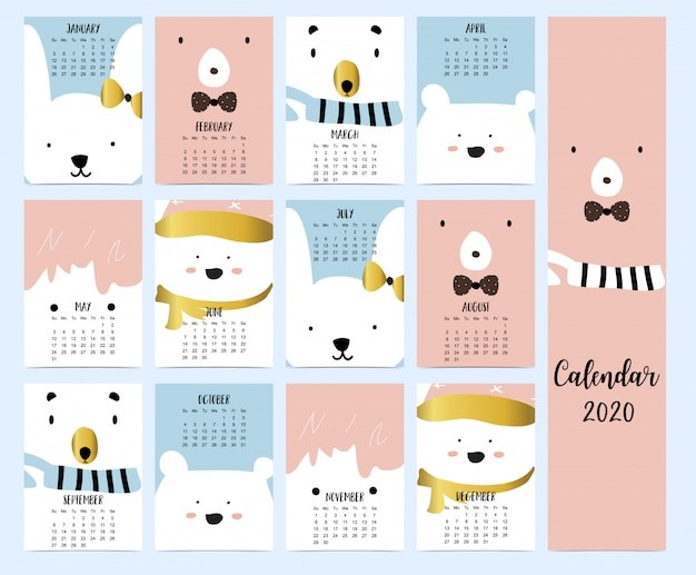 Doodle animal calendar 2020 set
