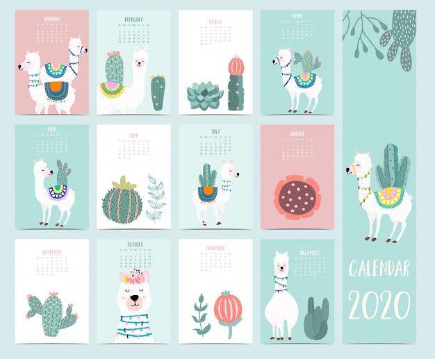 Doodle animal calendar 2020