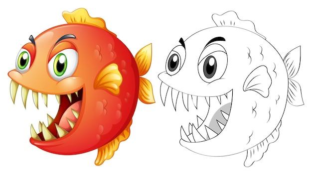 魚の落書き動物