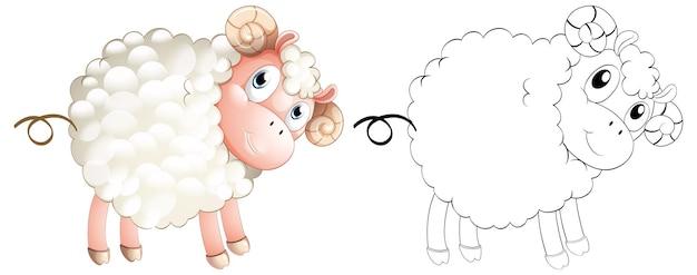 小さな子羊のための落書き動物