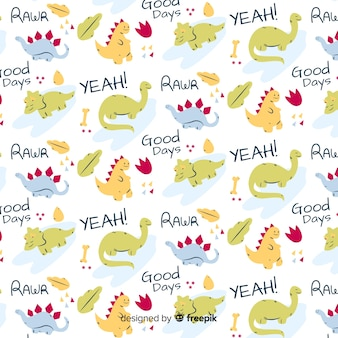 Doodle animal and words pattern