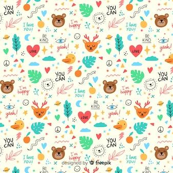 낙서 동물과 단어 패턴