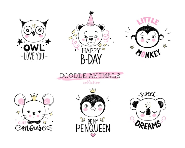 Doodle animals set owl bear monkey mouse penguin koala faces in sketch style funny quotes