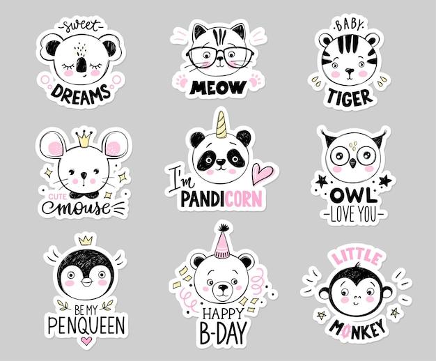 落書き動物セット。フクロウ、眼鏡をかけた猫、赤ちゃんトラ、パンダユニコーン、クマ、サル、プリンセスマウス、ペンギンの女王、スケッチスタイルのコアラの顔。面白い引用。