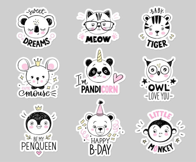 Doodle animals set. owl, cat with glasses, baby tiger, panda unicorn, bear, monkey, princess mouse, penguin queen, koala faces in sketch style. funny quotes.