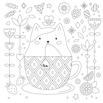 Doodle antistress coloring page with cat in cup