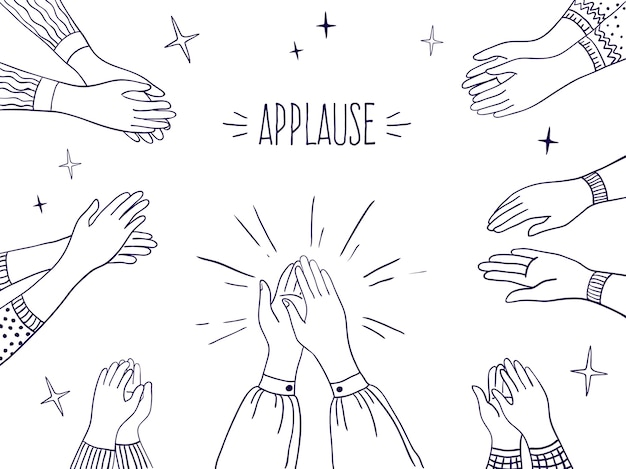Doodle applause.people drawn hands illustration, sketch draw of clapping hands.