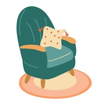 Значок кресла каракули симпатичная иллюстрация одного стула винтажная мебель элегантный домашний интерьер