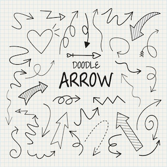 Doodle arrow set , vector illustration