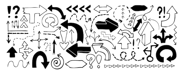 Стрелки каракули, восклицательные знаки и вопросительные знаки, изолированные на белом фоне. векторная иллюстрация