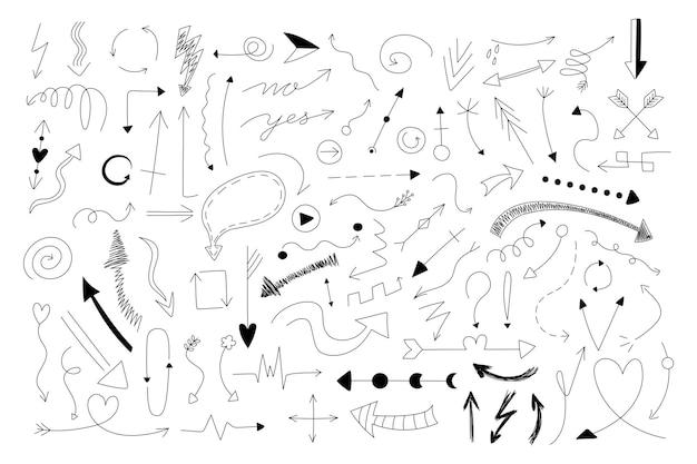 낙서 화살표. 손으로 최소한의 가는 선 화살표 디자인 템플릿, 프레젠테이션 및 인포그래픽을 위한 비즈니스 커서 컬렉션을 그립니다. 벡터 세트 디자인 요소 잉크 컬 이미지 화살표