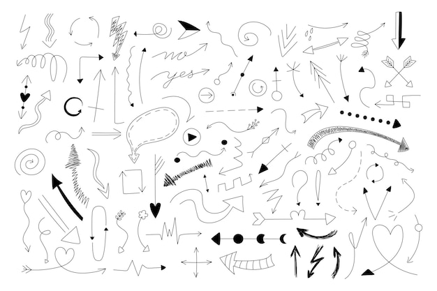 Doodle arrows. hand draw minimal thin line arrows design template, business cursor collection for presentation and infographic. vector set design element ink curl image arrow