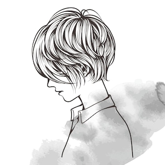 Doodle art of beautiful short haired woman with her side facing