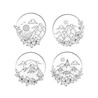 Цветочная природа doodle art bundle (цветочные, горы, солнце, облака)