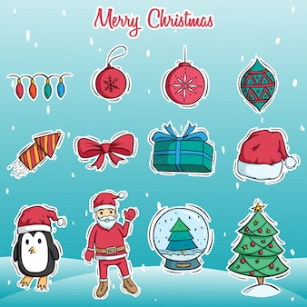 Doodle art of merry christmas cute decoration on snow background
