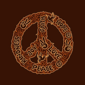 Doodle art peace design logo kindness, joy, love, faith, hope against an orange ornament
