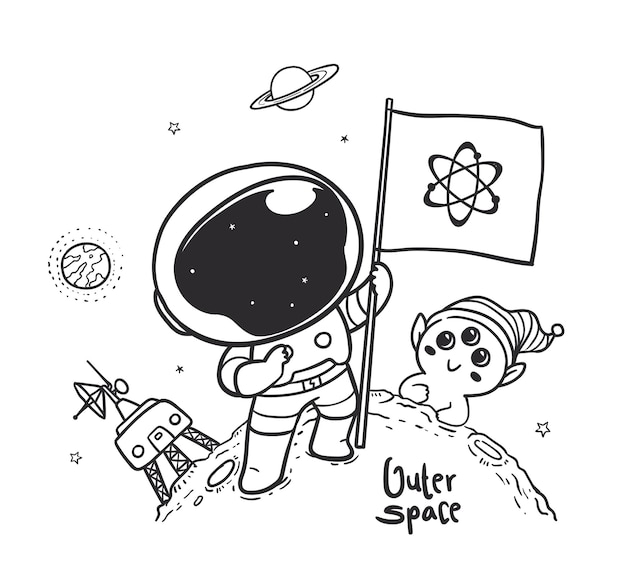 Doodle astronaut carrying a flag in outer space with aliens