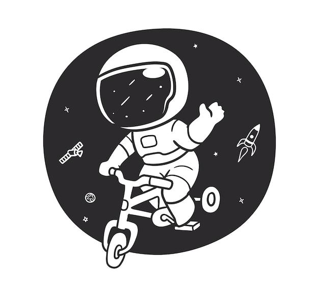 Дудл-космонавт катается на велосипеде в космосе