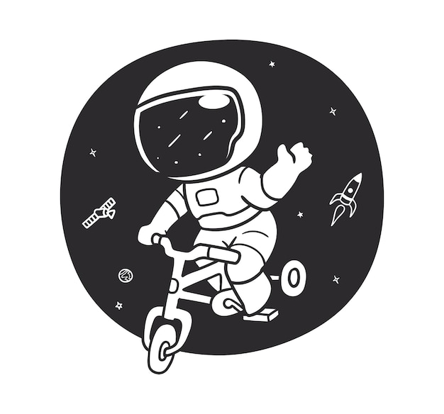 Doodle astronaut is cycling in space