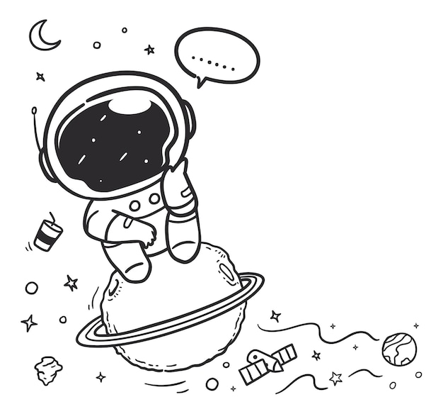 Doodle astronaut is daydreaming in the sky