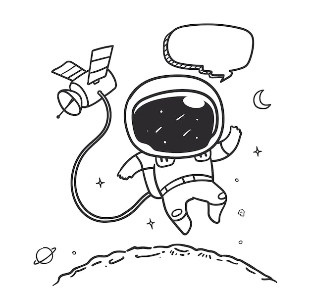 Doodle astronaut is flying on the moon